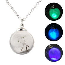Roundness Glowing Long Pendant Necklace lucency Dandelion Personality Chain for Women Luminous Jewelry Accessories Gift