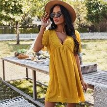 Vestido de verão de manga curta amarelo curto simples vestido casual feminino com decote em v babados boho férias praia mini vestido plus size