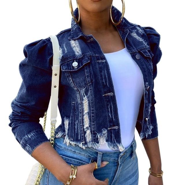 Autumn Sexy Ripped Denim Jackets Women Jeans Vintage Casual Short Jean Jacket Puff Sleeve Female Chic Coat Streetwear Plus Size
