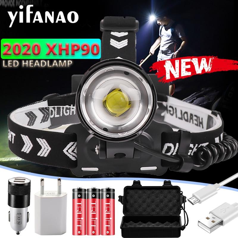 200000Lumen NEW XHP90 Headlamp LED Fishing Headlight Ultra Powerful Camping Lantern Head Lamp Zoomable USB Flashlight 18650Light