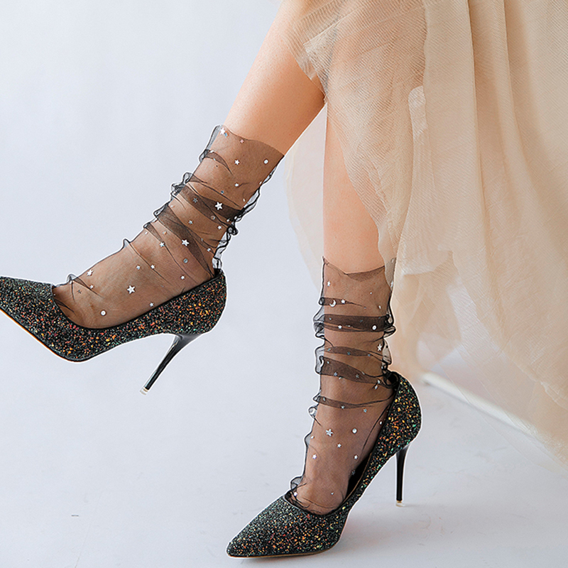 Fashion Star Moon Tulle  Socks Women Transparent Thin Long  Socks Female Dress Lace Funny Socks Dress Sock Streetwear Calcetines