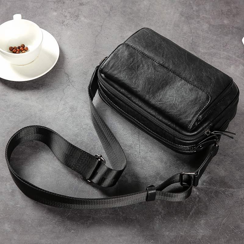 New Fashion PU Leather Crossbody Bags men Brand Small Male Shoulder Bag casual men's music chest bags messenger bag