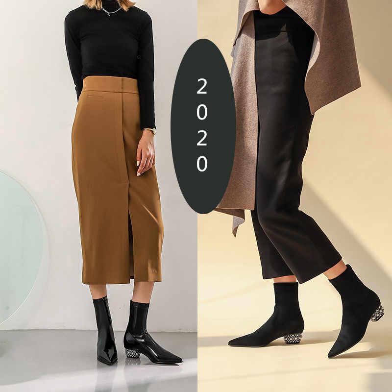 2020 חדש נשים מחודדת הבוהן אלסטי גרב מגפי קצר זמש סתיו Botines Femmes 3cm פרל עקבים חורף Botas Mujer עור מגפיים