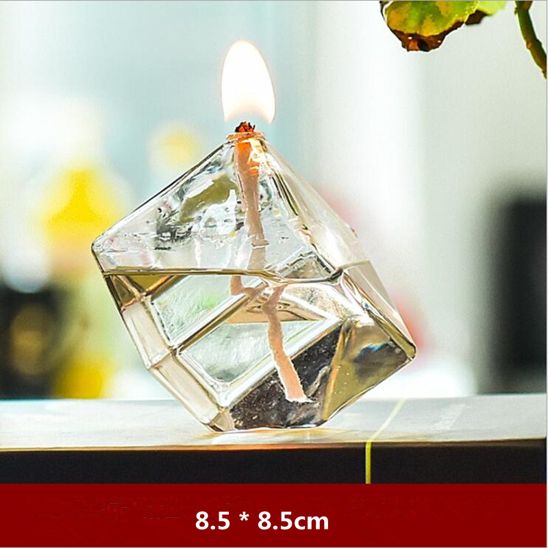 Creative Cubic Shaped Glass Oil Lamp Wedding Decoration Handcraft Glass Candle Holder Friend Gift Glass Candle Holder