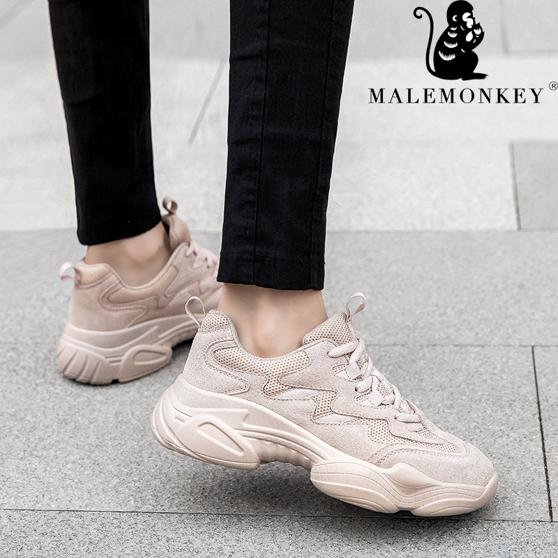 012838 MALEMONKEY Shoes Women Sneakers Platform Spring Breathable And Soft Casual Women Shoes Sport Lace Up Beige
