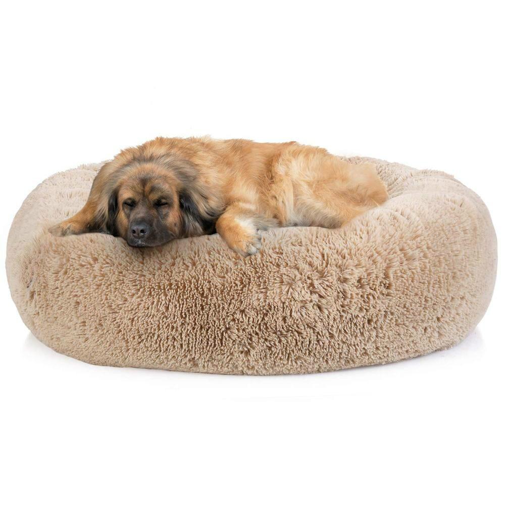 Лидер продаж длинная плюшевая супер мягкая кровать для домашних животных собачья Конура круглая кровать для кошек зимняя теплая подушка