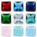 Бесплатная доставка, 50 шт./лот, 2x2 ~ 12x12 мм, различные цвета, свободный стеклянный камень, квадратная огранка, красное, зеленое стекло, синтетич...