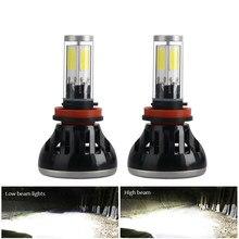 G5 H4 2PCS Farol Do Carro LED H7 H8 H11 HB3/9005 HB4/9006 H1 H3 880 881 W 8000lm COB 4 80 Lados Auto Lâmpada do Farol 6000K LEVOU Luz