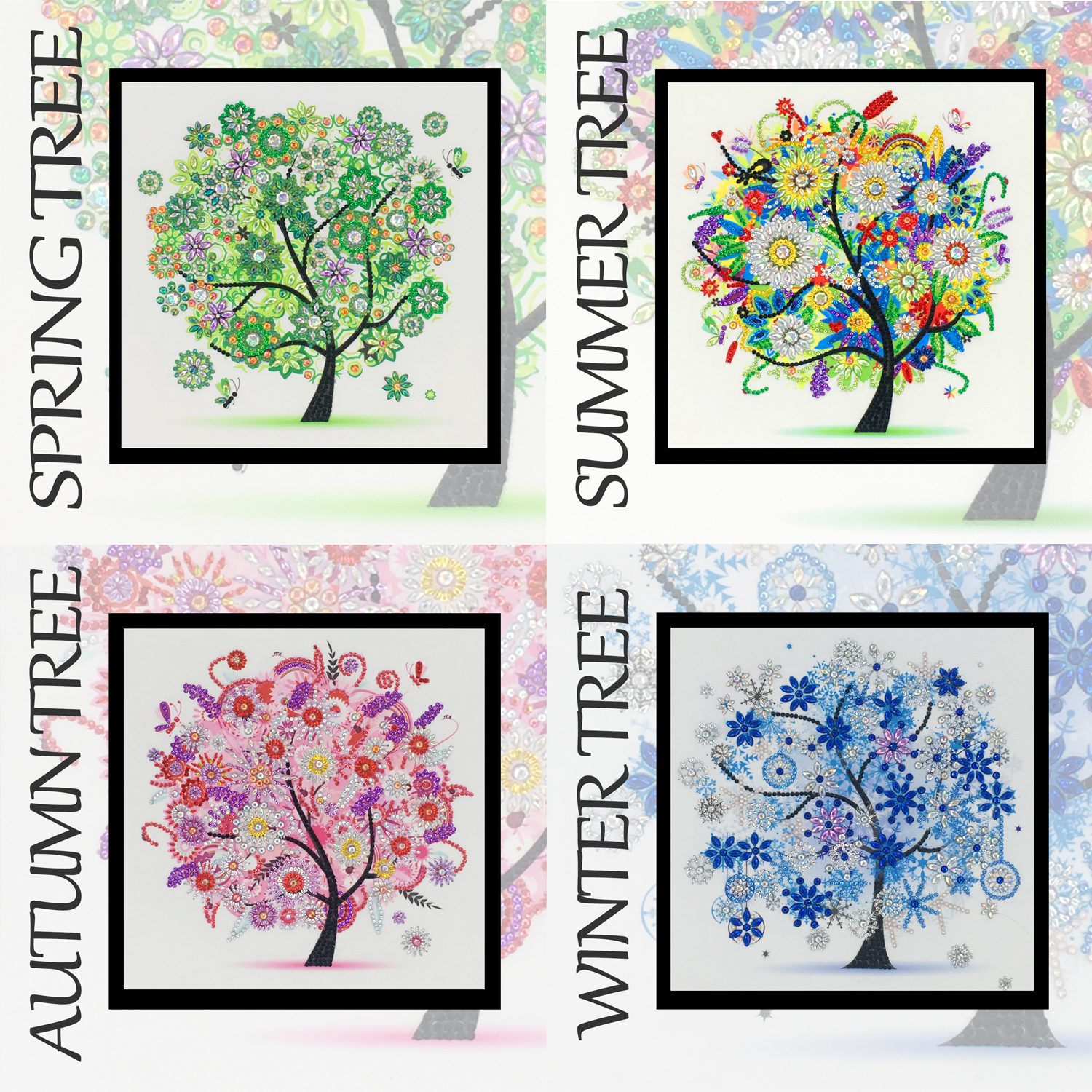 Four Seasons Tree Special Shaped 5D DIY Diamond Painting embroidery Rhinestone Partial Drill Cross Stitch Kits Crystal  Hot Sale