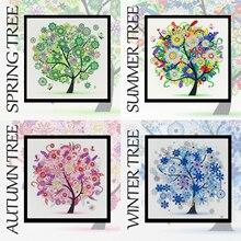 Четыре сезона дерево особой формы 5D DIY алмазная живопись Вышивка Стразы частичное сверление наборы крестиков Кристалл горячая распродажа