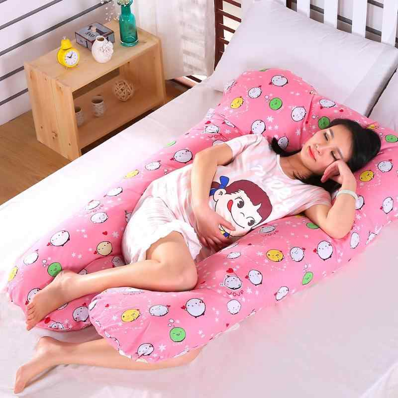 Em forma de u sono travesseiro grávida gravidez corpo inteiro travesseiro lado sleeper apoio fronha algodão cama