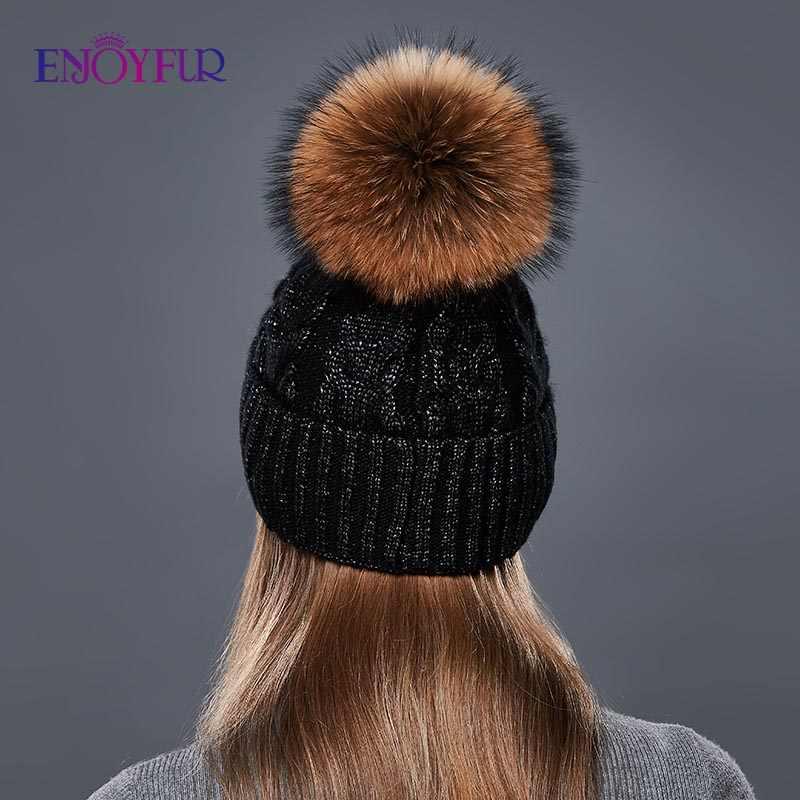 ENJOYFUR Moda Chapéus de Inverno Tampas Mulheres Ásperas Twist-Tipo Cashmere Chapéu Feito Malha Fêmea Menina Quente Grosso Gorro De Pele Pompom gorro