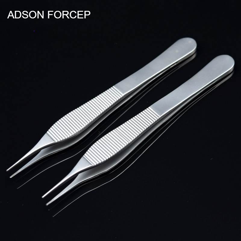 ADSON Forcep Stainless Steel Plastic Surgery Tweezers 12 Cm Tissue Forceps Medical Dressing Forceps Width 0.8 Mm Without Hook