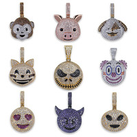 OMYFUN 9 Style Funny Face Pendant Necklace Cool Male Female Collar Women Men Hiphop CZ Iced Bling Necklace & Pendant Jewelry