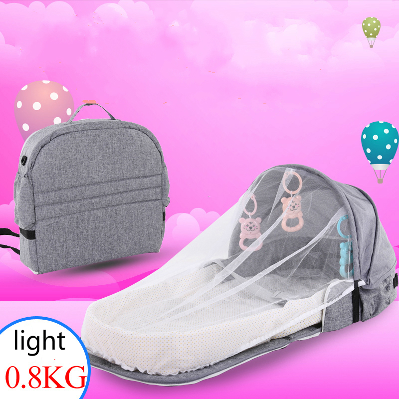 Portable Baby Bed Folding Baby Nest Bed Cot For Travel Foldable Backpack Crib With Mosquito Net Infant Sleeping Basket With Toys