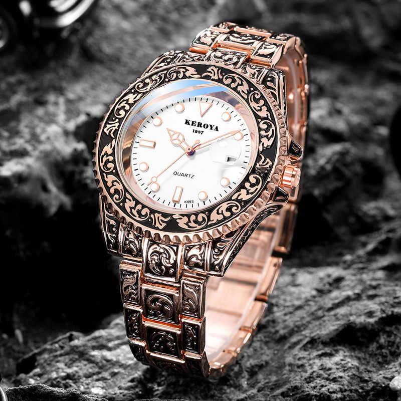 New Men's Watches Ghost Men's Poker King Gold Retro Classic Brand Water Bronze Strap Quartz Sport Watch Gift Relogio Masculino