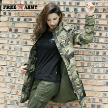 FreeArmy Winter Military Camo Frauen Mantel Mit Kapuze Verdicken Warme Outwear Weiblichen Medium Lange Zipper Damen der Parka Mantel GS-8908