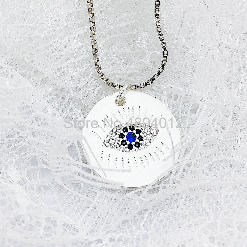 10Pcs,Women Pendant Necklace,Fashion Jewelry, CZ Setting,Pop Charms, Eyes Design, Can Wholesale