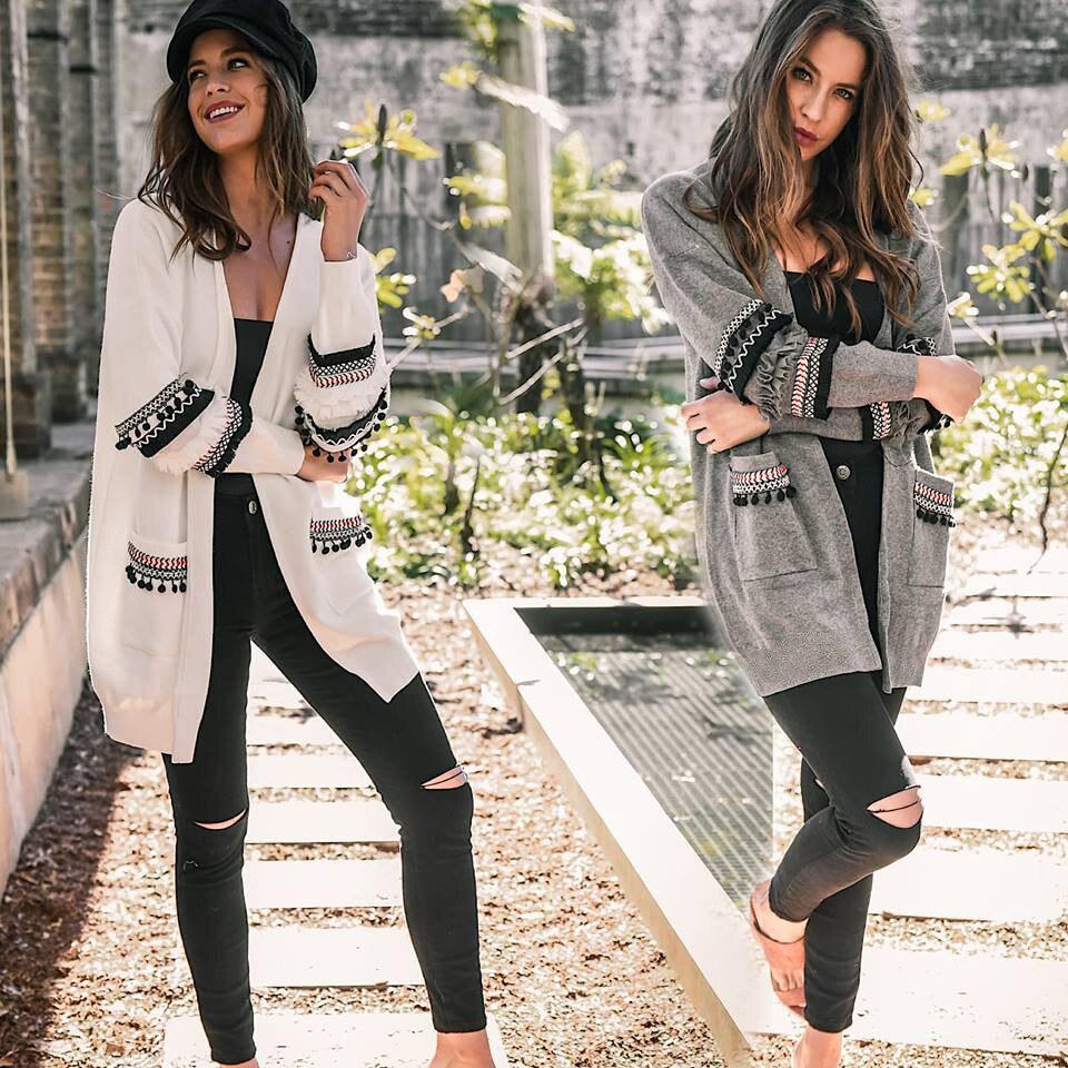 Women Sweater Long Cardigan Fashion Long Sleeve Causal Thick Knitted Cardigan Kimono Winter Warm Female Sweater Coat