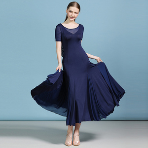 Image 1 - מוצק צבע בחזרה סלסולים שמלת ריקודים סלוניים מודרני ריקוד פלמנקו ואלס שמלת מקובל ללבוש תחרות