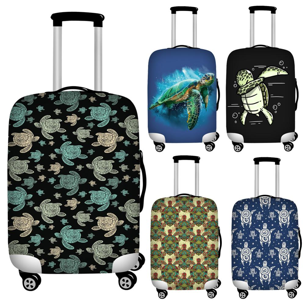 Foldable Beach Sea Turtle Print Luggage Protective Dust Cover Waterproof 18-32inch Suitcase Cover To Luggage Set Stretchable
