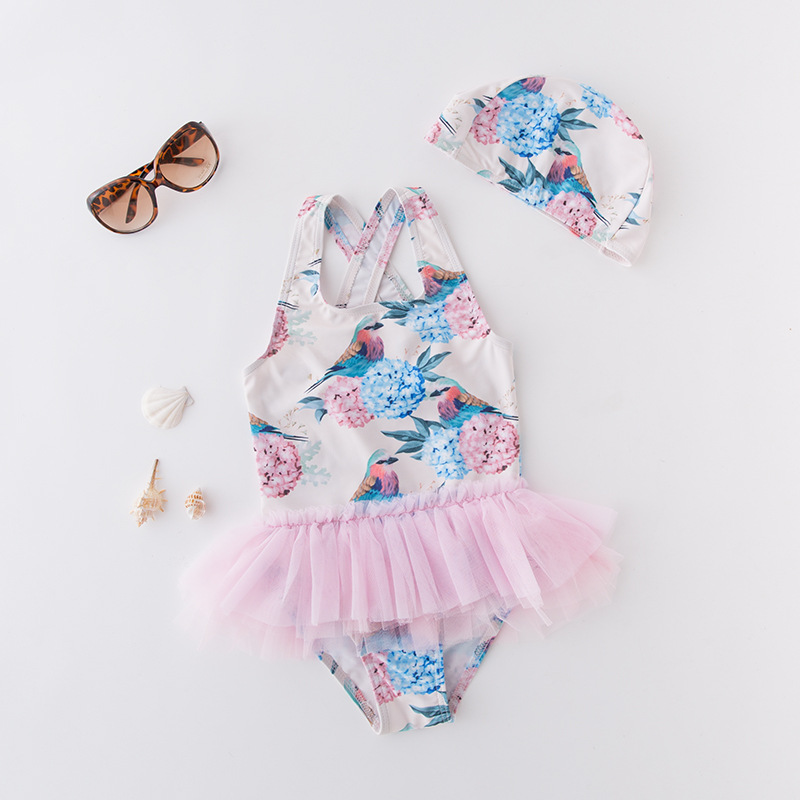 KID'S Swimwear GIRL'S One-piece Swimming Suit Flower Bird Mesh Dress Triangle Swimwear Vest Exposed Back With Cap 2 Pieces