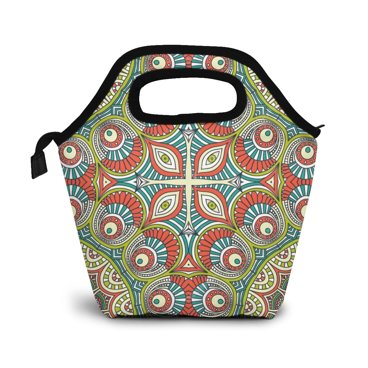 Deposit Photos Vintage Indian Seamless Pattern Lunch Bag Boxes Bags Portable Insulated Picnic Food Box for Women Men image