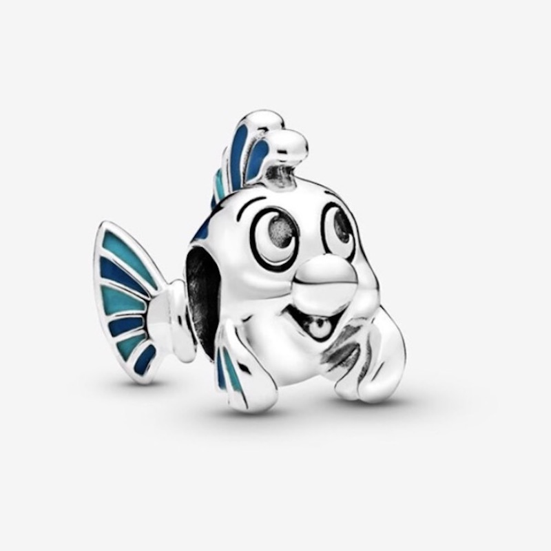 JrSr new 100% 925 Sterling Silver Beads The Little Mermaid Flounder Charms fit Original Pandora Bracelets woman DIY Jewelry gift(China)