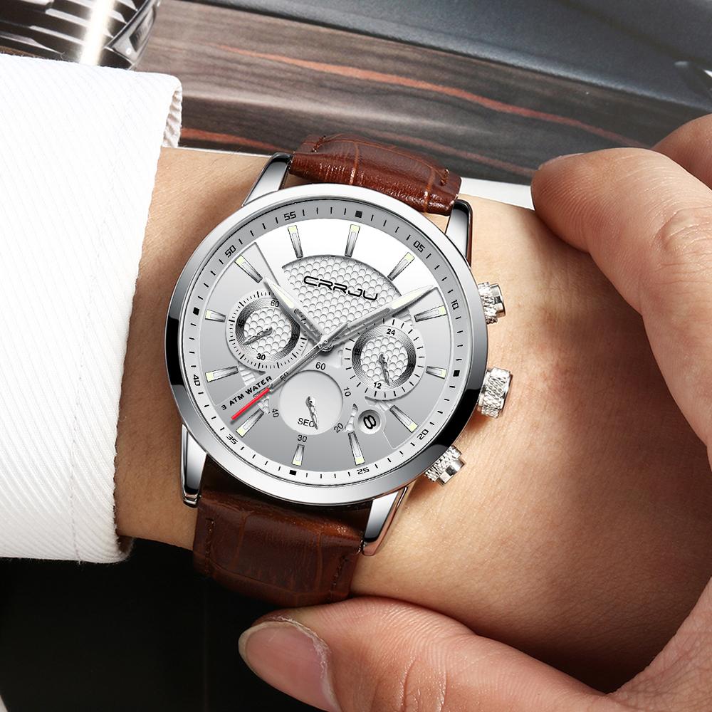 CRRJU, nuevos relojes de moda para hombre, relojes de pulsera analógicos de cuarzo, cronógrafo resistente al agua de 30M, reloj deportivo con fecha Relojes De Correa De Cuero para hombre 5