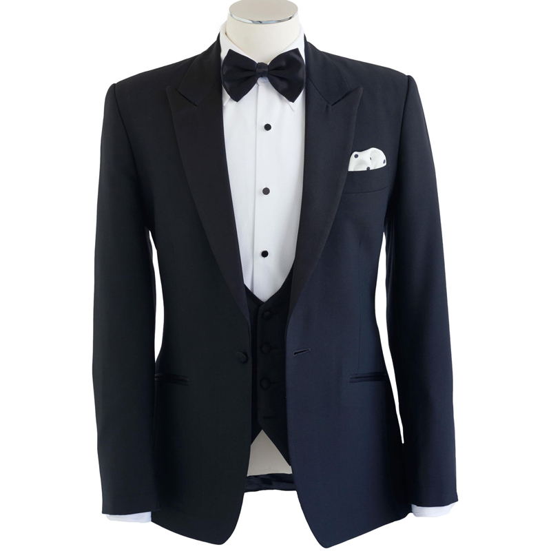 Navy Blue Business Men Suits One Button Peaked Lapel Wedding Tuxedos for Groom Three Piece Suit (Jacket + Vest + Pants)