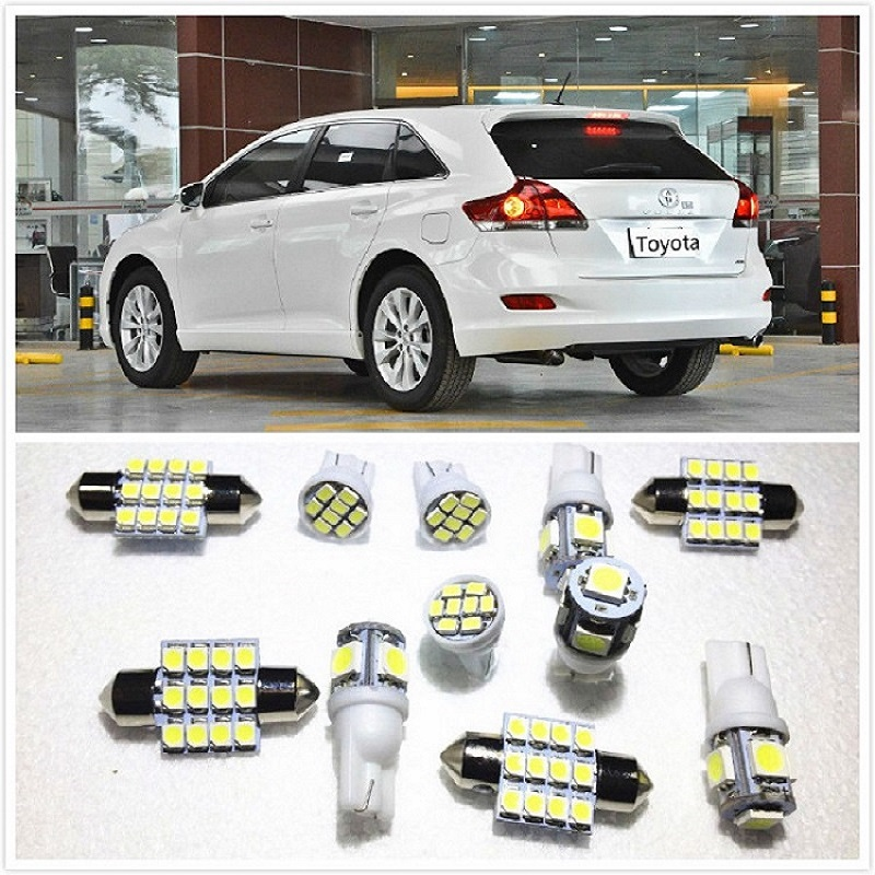 11 set White LED Lights Interior Package 10 & 31mm Map Dome For <font><b>Toyota</b></font> Venza <font><b>4Runner</b></font> RAV Corolla Camry Avalon Avanza 1990-2019 image