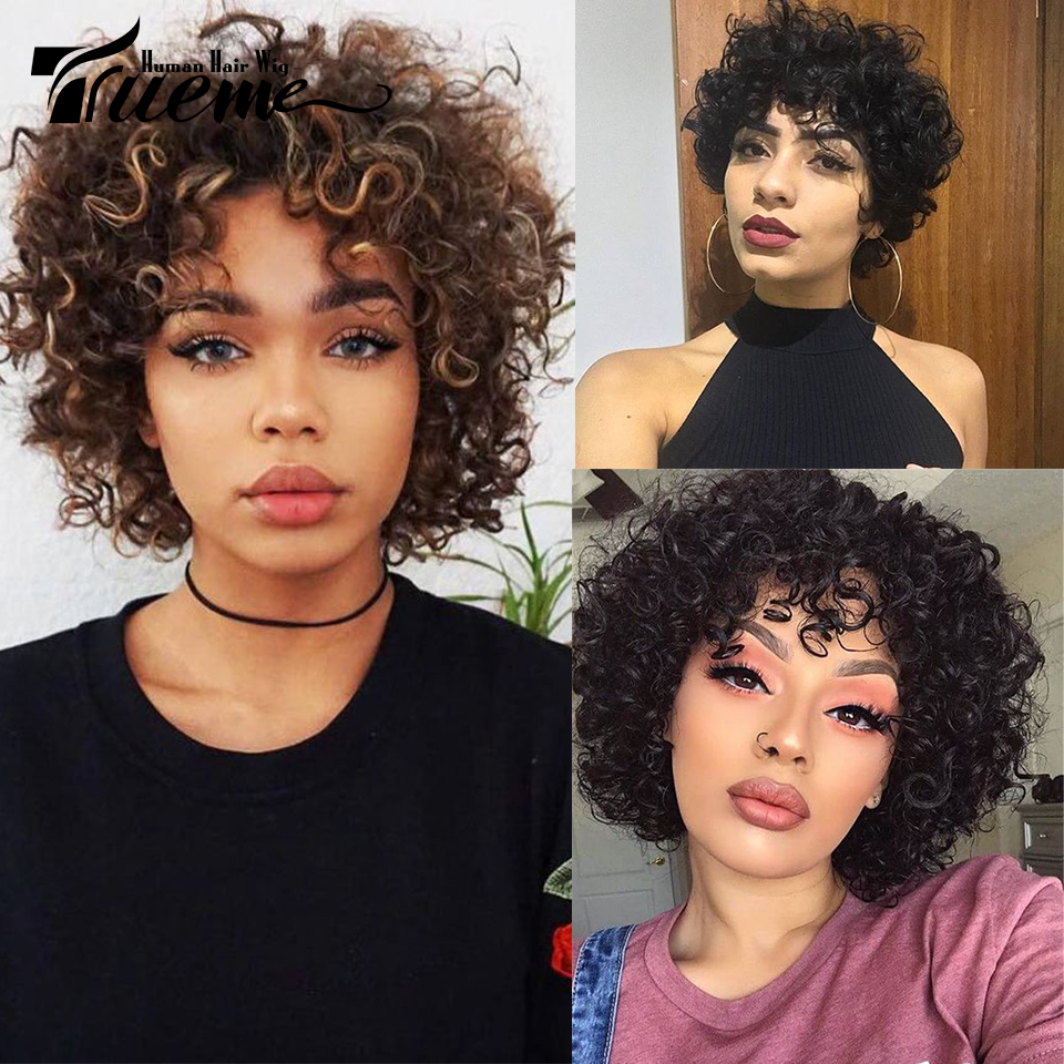 Trueme Short Loose Curly Human Hair Wigs 100% Brazilian Remy Hair Full Wig For Women Ombre Mix Red Brown Blonde Cheap Wigs