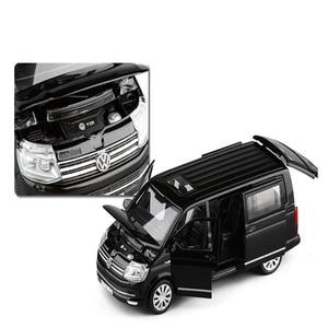 Image 4 - 1:32 아연 합금 버스 폭스 바겐 Multivan T6 밴 합금 장난감 자동차 다이 캐스트 MPV 모델 사운드 라이트 당겨 뒤로 어린이 선물 소년 장난감