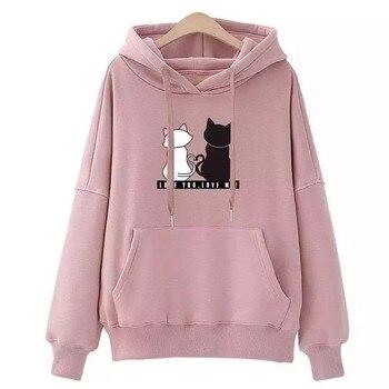 Streetwear Hoodies Women Sweatshirt Autumn Long Sleeve Hoodies Harajuku Hoodie Cute Cat Print Sweatshirt Women Sudadera Mujer