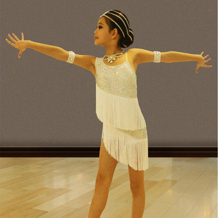 Children Professional Latin Dance Dress Kids Sequins Ballroom Dance Competition Dresses Girl Tassel Cha Cha Rumba Dance Costume
