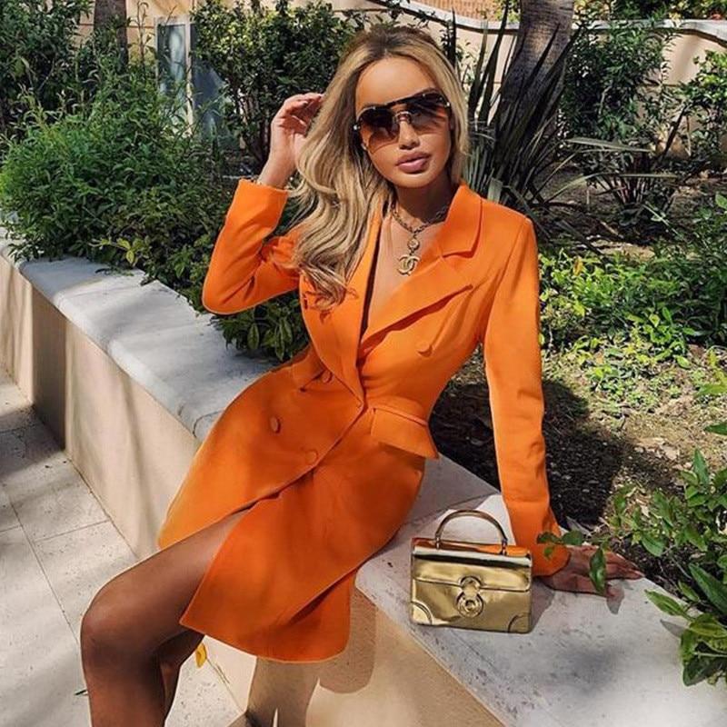 Ahagaga 2019 Women Chic Black Orange Slim Coats Long Sleeve Office Wear Coats Solid Female Casual Long Outerwear Tops Vestidos
