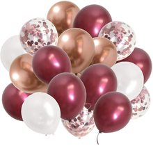 Burgundy Confetti Balloons Metallic Maroon - Wine Color Balloons for Wedding Bridal Shower Birthday Anniversary Party Decoration