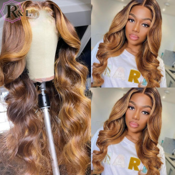 RULINDA-pelucas de cabello humano Remy brasileño, cabello con onda de encaje frontal, Color degradado, parte media prearrancada 1