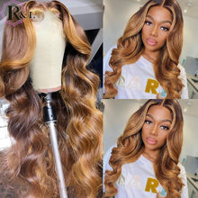RULINDA Highlight Ombre Color Body Wave Lace Front Human Hair Wigs Brazilian Remy Hair Lace Wigs Middle Part Pre-Plucked