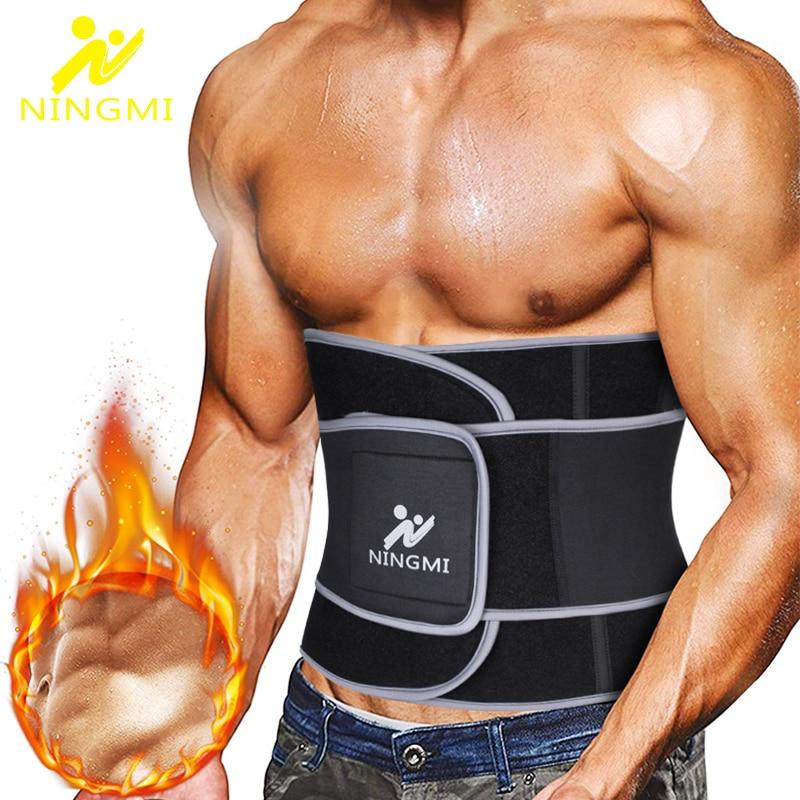 NINGMI Men Waist Trainer Slim Body Shaper Modeling Belt Sports Top Waist Cinchers Neoprene Sauna Strap Corset Slimming Shapewear