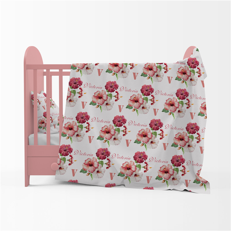 Baby Swaddle Newborn Baby Blanket Swaddling Cotton Name Personalized Vintage Floral Infant Baby Bedding Gift Crib Bed Blanket