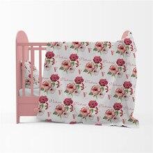 Manta de bebé recién nacido, manta de algodón, nombre personalizado, Vintage Floral, ropa de cama para bebé, regalo, manta de cama para cuna