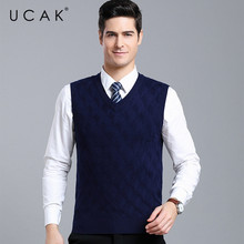 UCAK Brand Sweater Vests Men Clothes Streetwear Wool V-Neck Vest Autumn Winter Striped Sweater Pull Homme Men Clothing U1113(China)