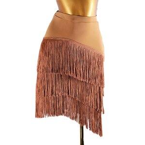 Image 2 - Newest Popular Latin Dance Skirt For Ladies Black Skin Tassel Skirt Women Ballroom Chacha Tango Samba Competitive Costumes I209