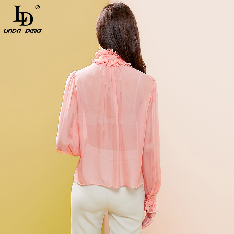 LD LINDA DELLA 2020 Summer Fashion Designer Pink Blouses Women Bow tiw Collar Ruffles Shirt Ladies Solid Top