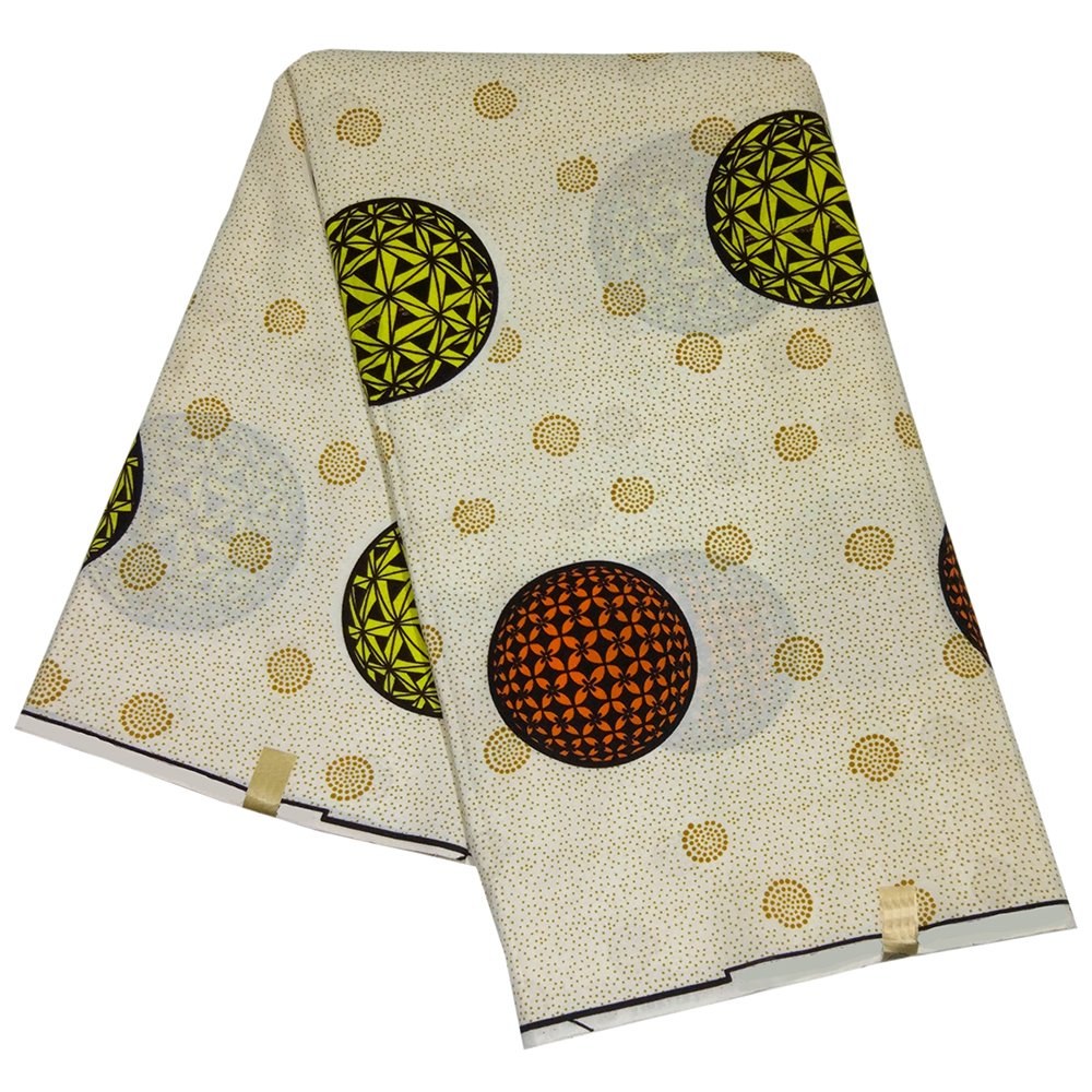 2019 Newset Arrival Fashion Design Yellow And Orange Round Pattern Printed African Top Wax Fabric For DIY African Clothing