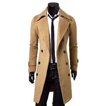 Abrigo largo de lana con doble botonadura para Hombre, chaqueta ajustada Lisa...