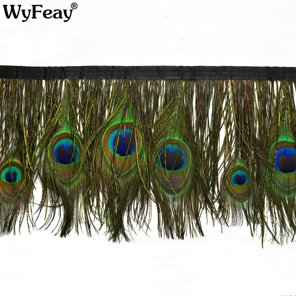 Wholesale 10 Meter Natural Peacock feathers Trims About 15CM width Fringe With Satin Ribbon Sewing Crafts