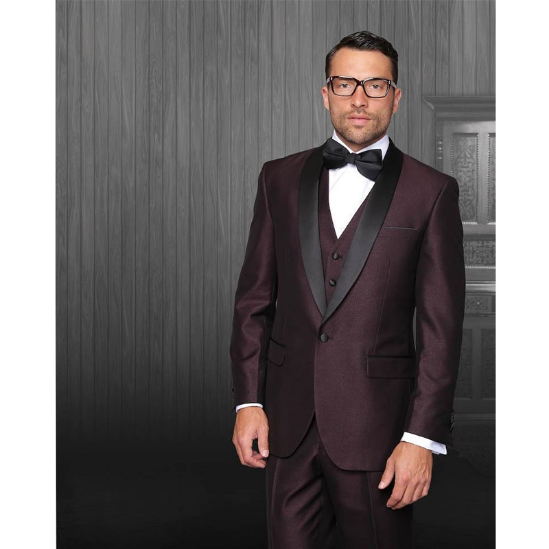 Spring Formal Men Business Suit For Father 3 Pieces Tailor Made With Black Shawl Lapel Wedding Tuxedos Suit (Jacket+Pants+Vest)