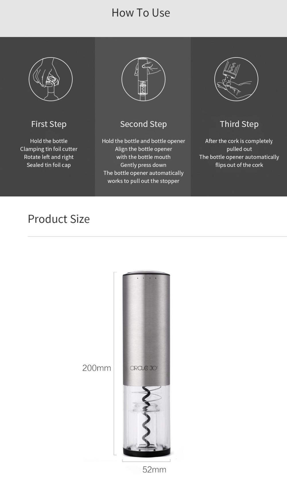 Xiaomi Circle Joy Electric Wine Opener Electric Automatic Bottle Opener USB Charging Bottle Opener Kitchen Opening Tool 2Colors (3)